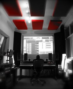 Tiny Thunder Audio GIK Acoustics Red Acoustic Panels Ceiling Cloud