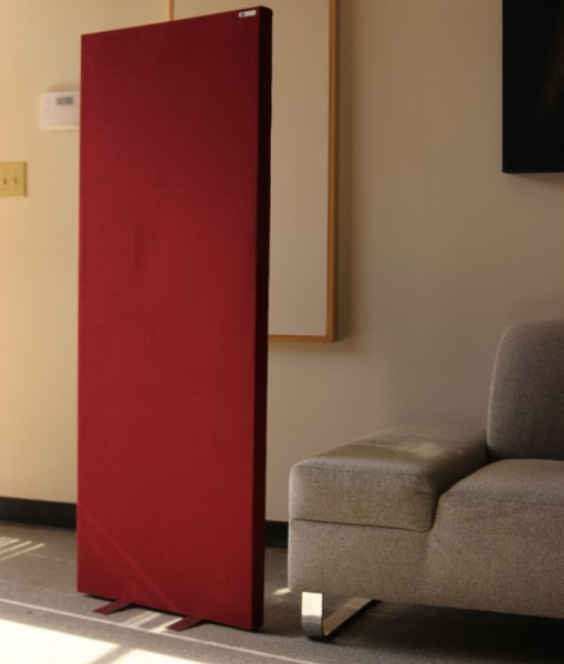 freestand acoustic panel in room with couch