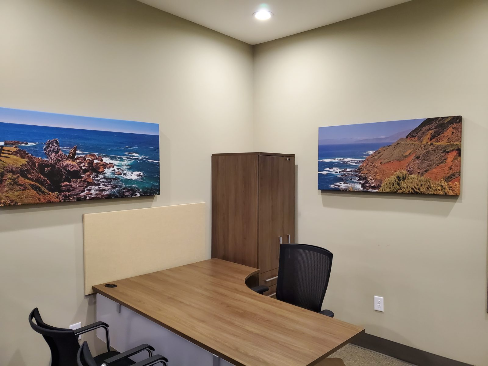 Acoustic Art Panels in office with landscape images of cliffs