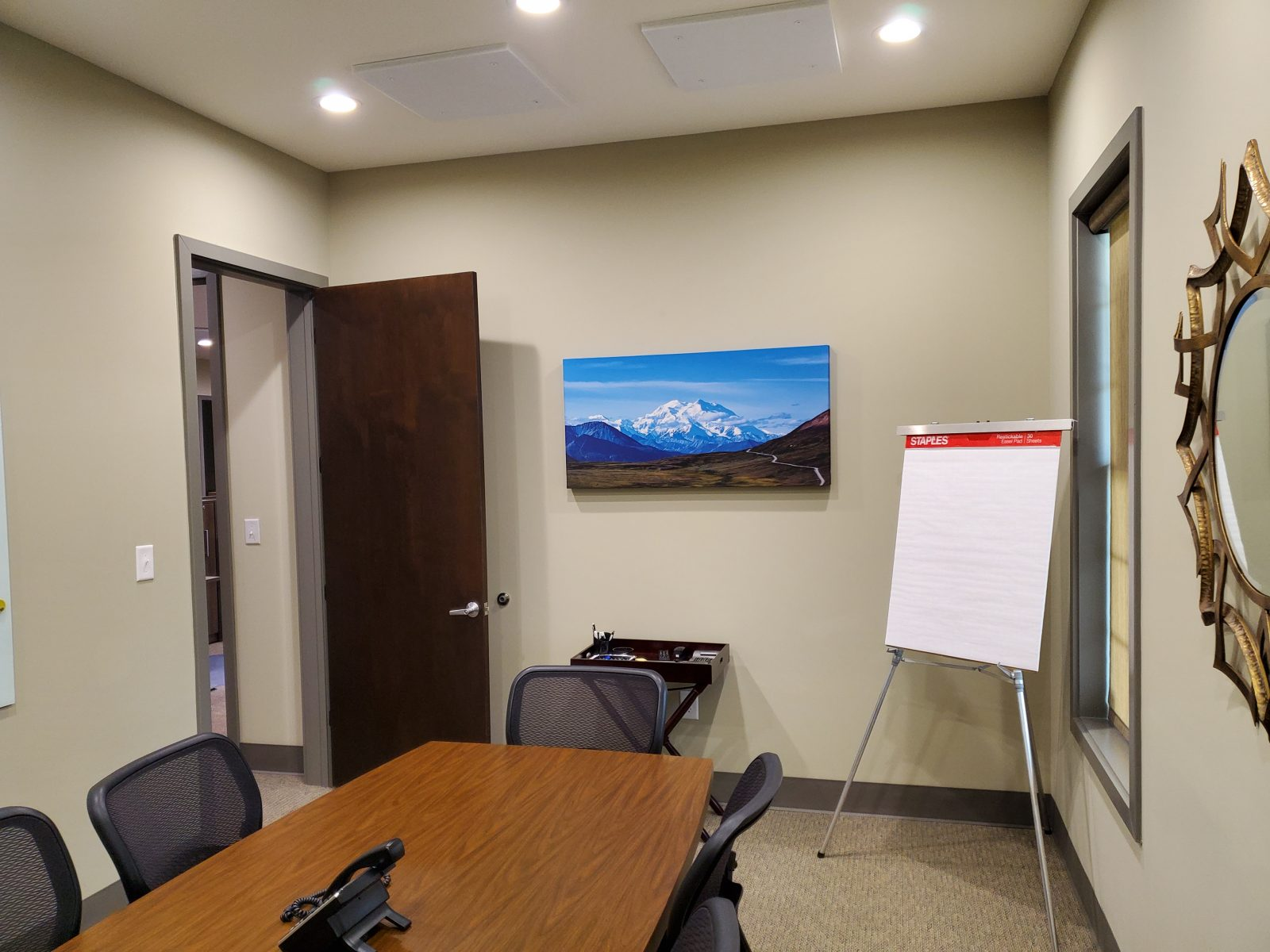 Acoustic Art Panels in office with landscape image of an epic mountain