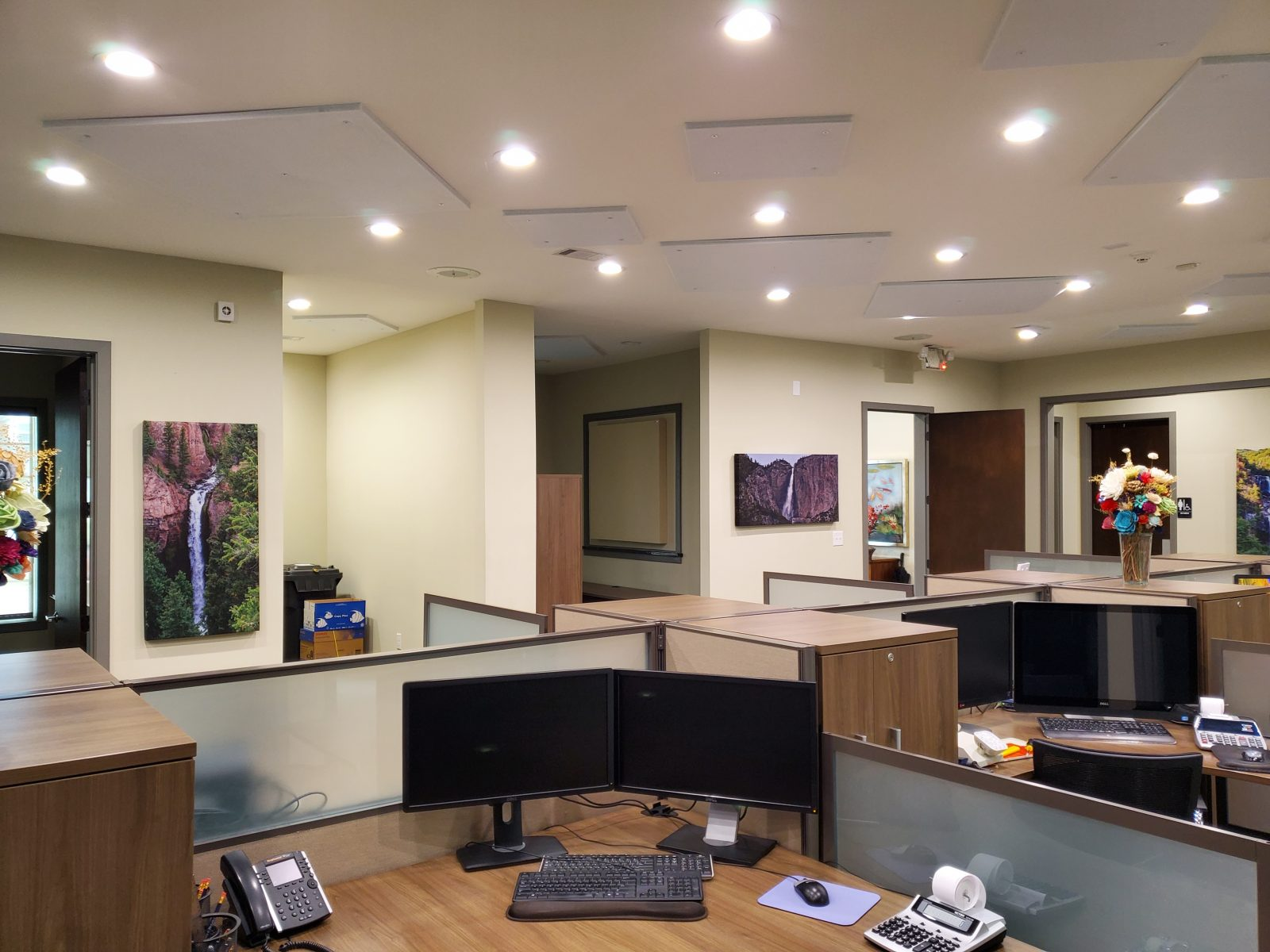 Acoustic Art Panels in office with landscape images