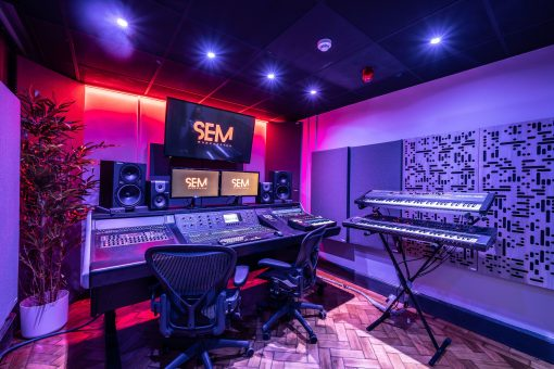 School of Electronic Music Studio using acoustic panels and Alpha Series panels at first reflection points