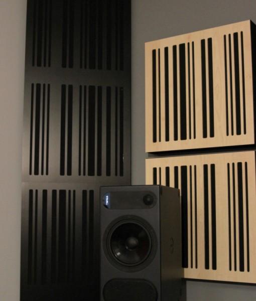 Corner Bass Trap CT Alpha Series black plate black fabric in room GIK Acoustics