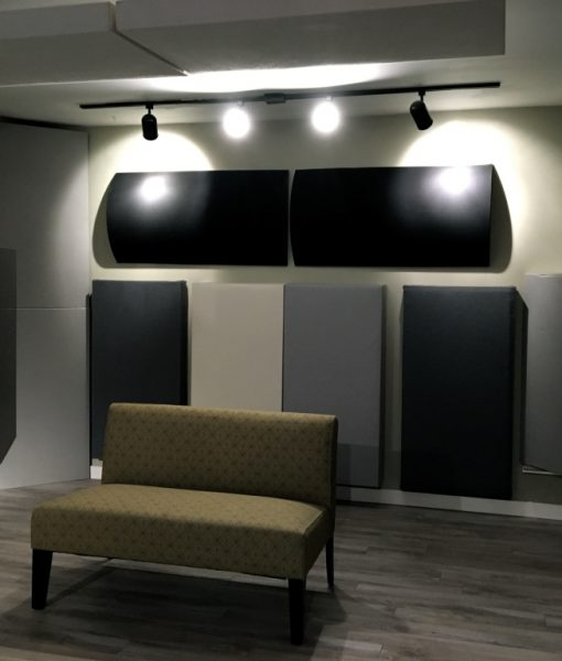 Diffusors and Bass Traps by GIK Acoustics back wall of Sun Room Audio