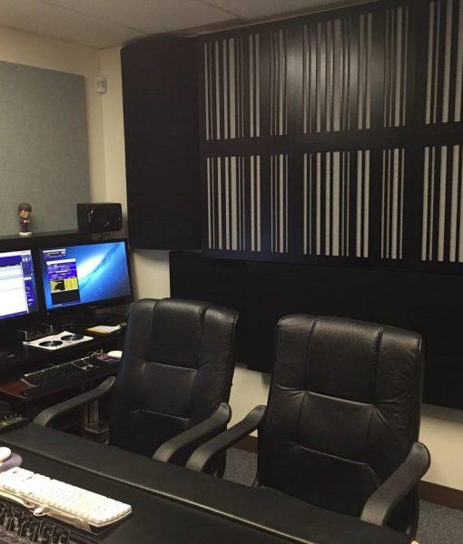 Bass trap diffusor absorber alpha series by GIK Acoustics back wall Tiki recording Mastering Room