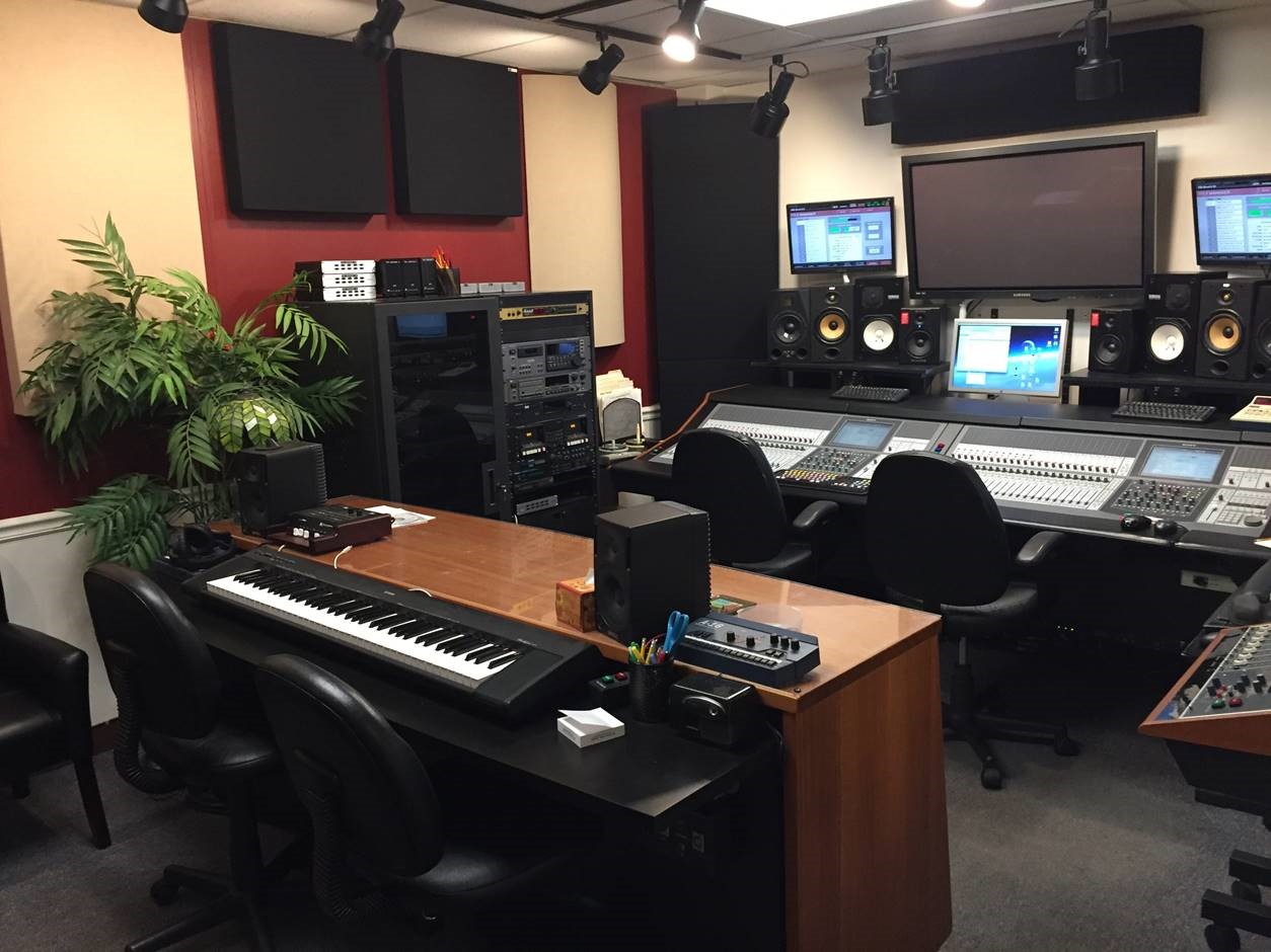 Bass Traps by GIK Acoustics in Tiki Recording Control Room