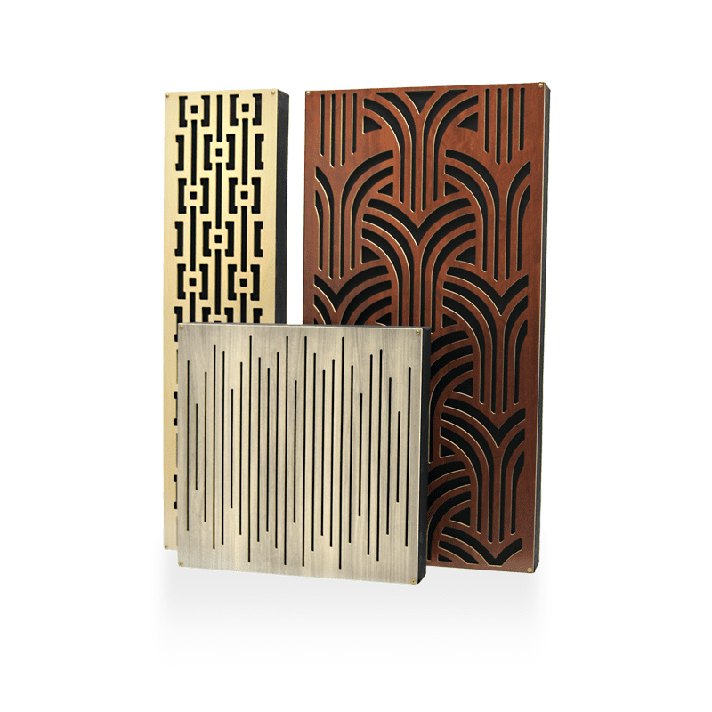 GIK Impressions blond wood mahogany and gray wood panels