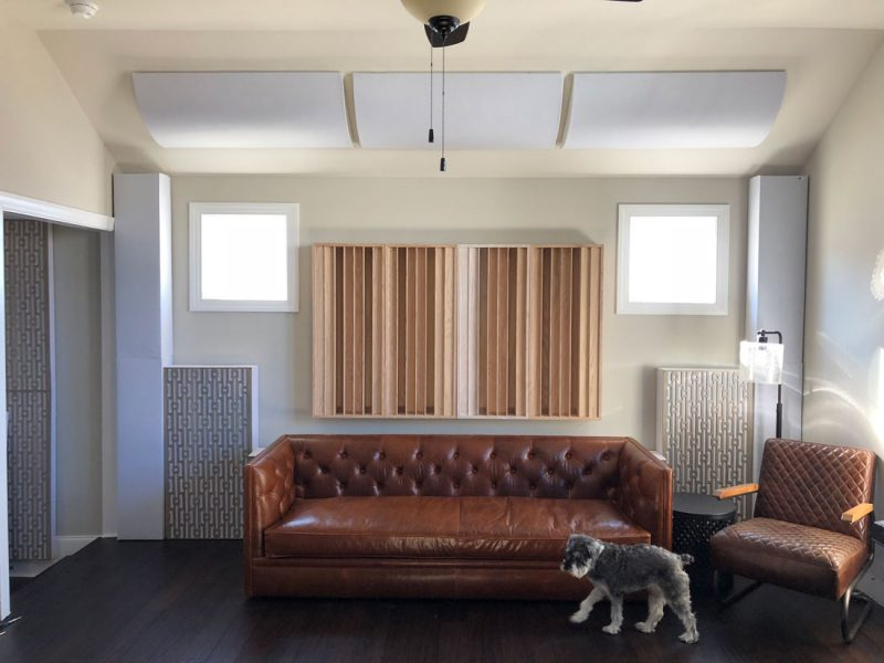 GIK Acoustics Diffusors Bass Traps and PolyFusors above couch
