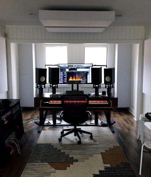 Home studio with bass traps GIK Acoustics