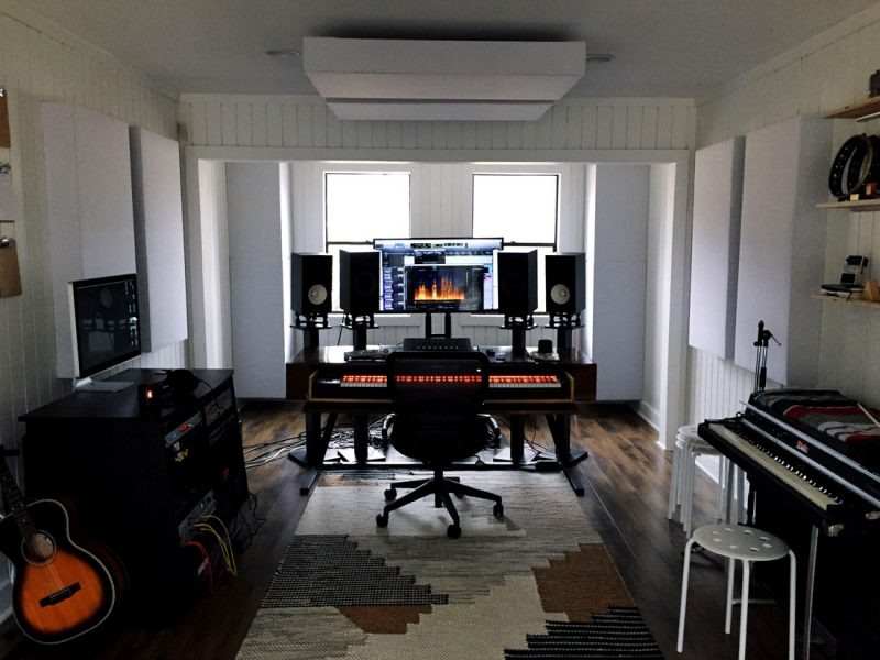 Home studio with bass traps GIK Acoustics