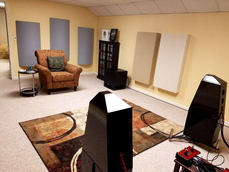 GIK Acoustics PolyFusors and bass traps in listening room Dan Libeerdi