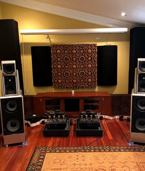 GIK Acoustics Soffit Bass Traps Impression Series and Gotham Diffusers in Dave Eusanio listening room