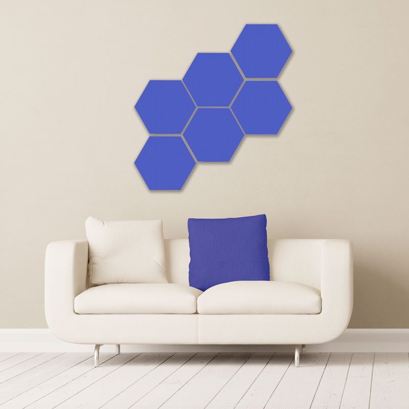 GIK Acoustics Hexagon Acoustic Panels 1x1 decorative sound absorbing panels with couch
