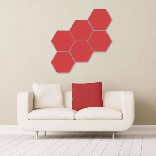 GIK Acoustics REd Hexagon Acoustic Panels 1x1 decorative sound absorbing panels in room
