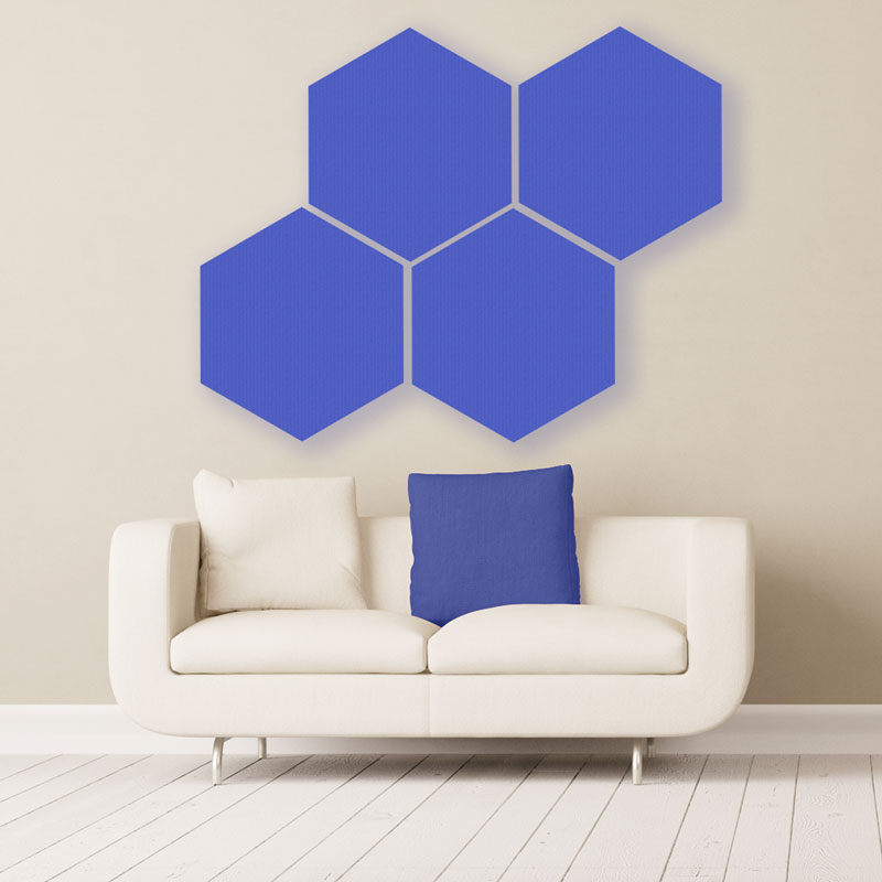 GIK Acoustics Blue Hexagon Acoustic Panels 2x2 decorative sound absorbing panels in room
