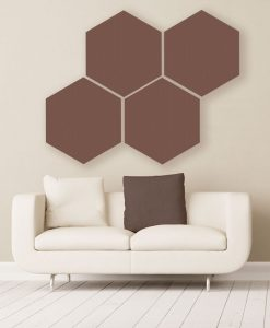GIK Acoustics Brown Hexagon Acoustic Panels 2x2 decorative sound absorbing panels in room