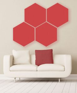 GIK Acoustics Red Hexagon Acoustic Panels 2x2 decorative sound absorbing panels with couch