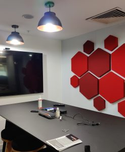 Simply Sound and Vision Installation of Hexagon Decorative Acoustic panels