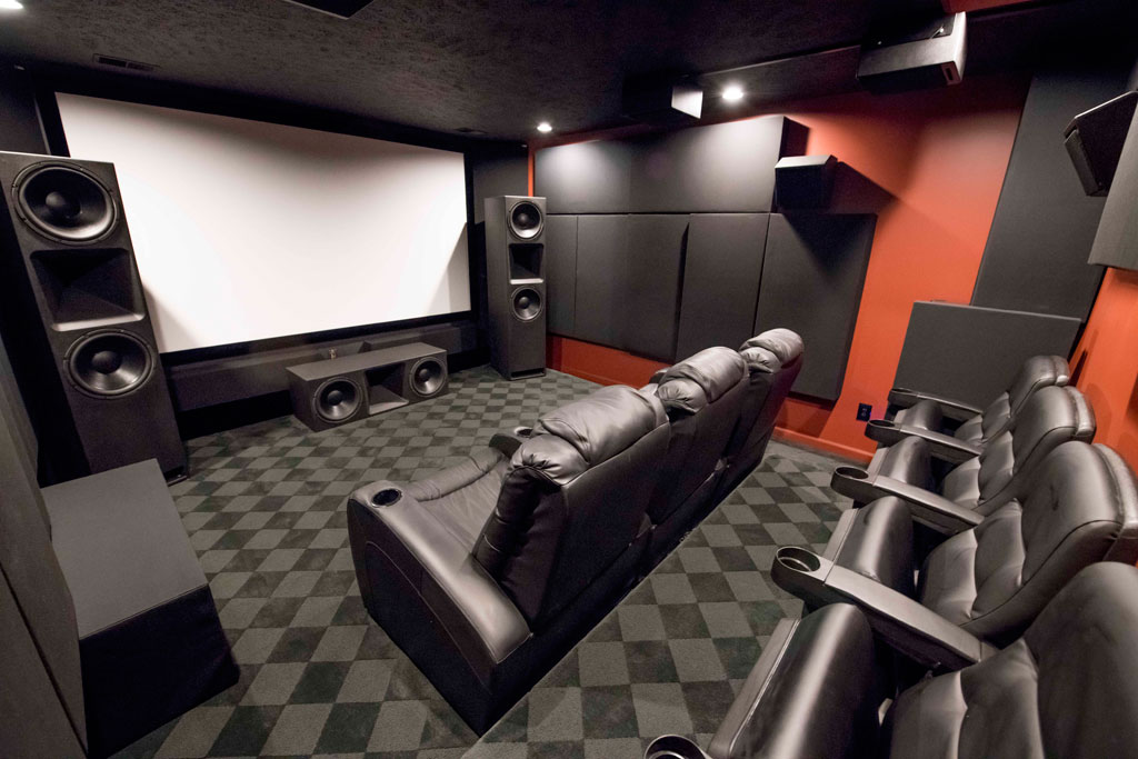 Home Theater acoustic treatments GIK Acoustics 242 acoustic panels 244 bass traps Monster Bass Traps tri traps and soffits full view