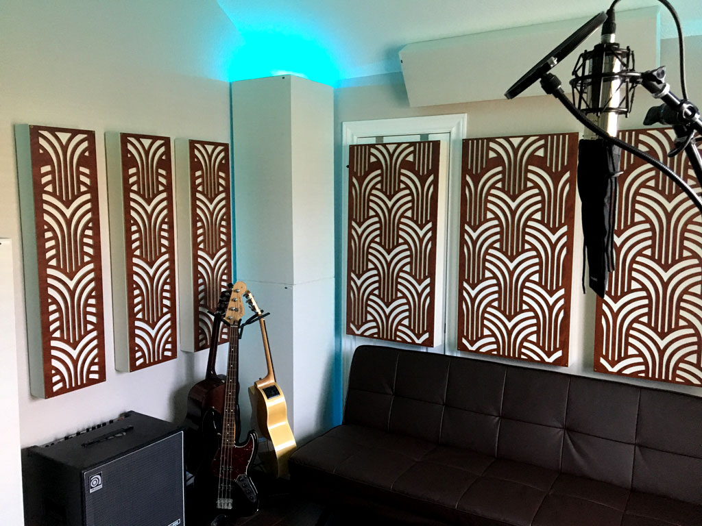 Gatsby Impression series white gik acoustics soffit traps and couch