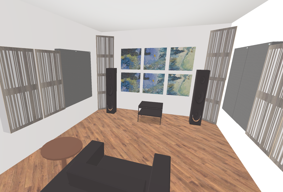 GIK Acoustics 2 Channel Listening Room 3D plan inside