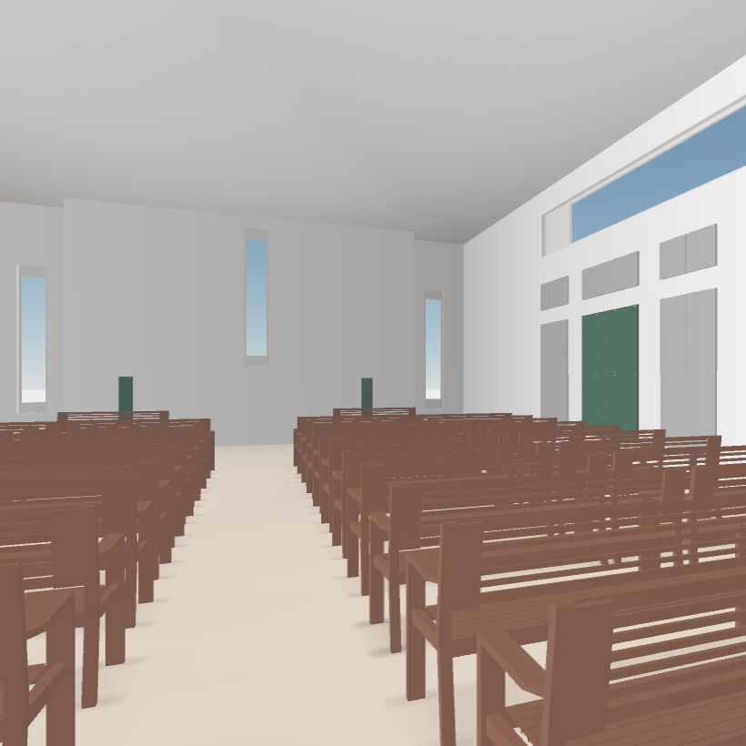 GIK Acoustics Church Acoustics Plan interior in 3D
