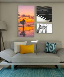Galllery quality sound absorbing canvas prints in multiple sizes above couch in residential or office