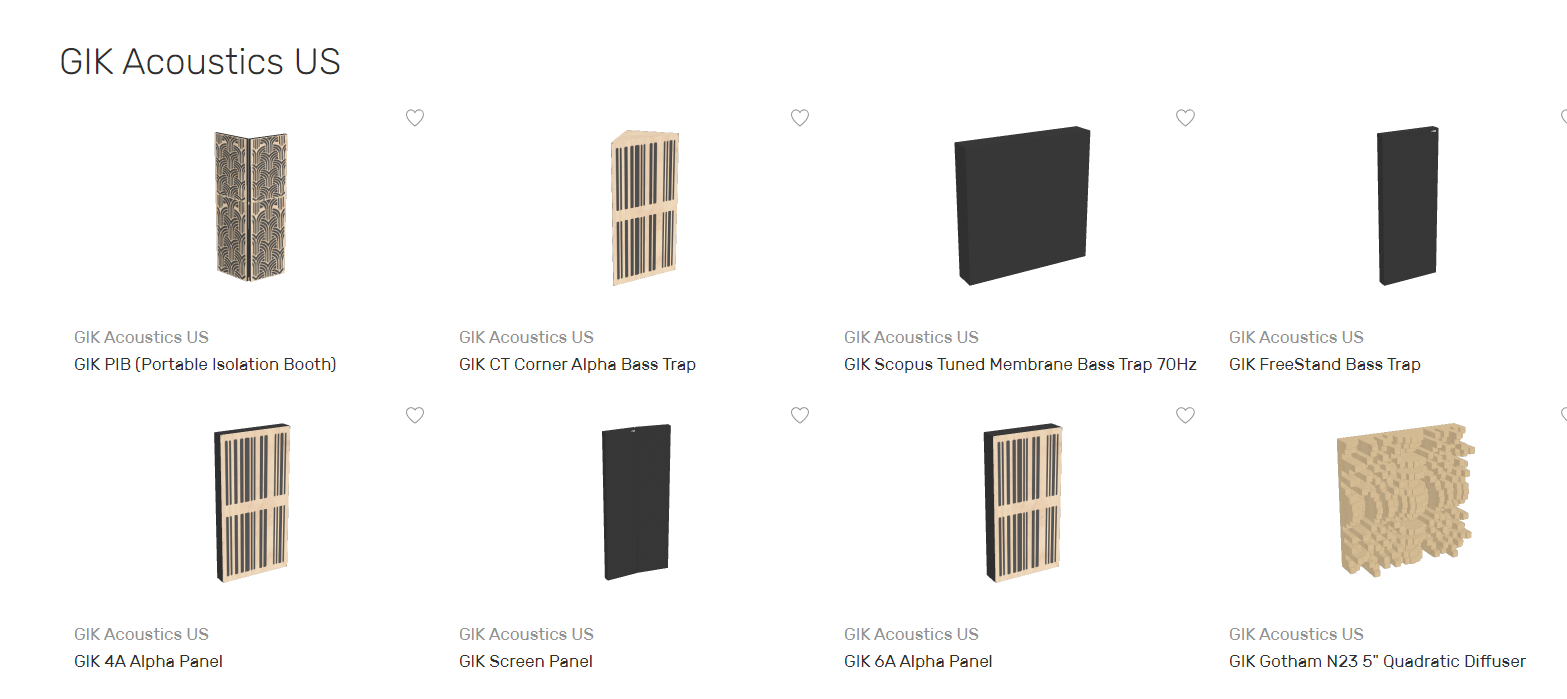 Full Catalog of GIK Acoustics products available in the room acoustics visualizer