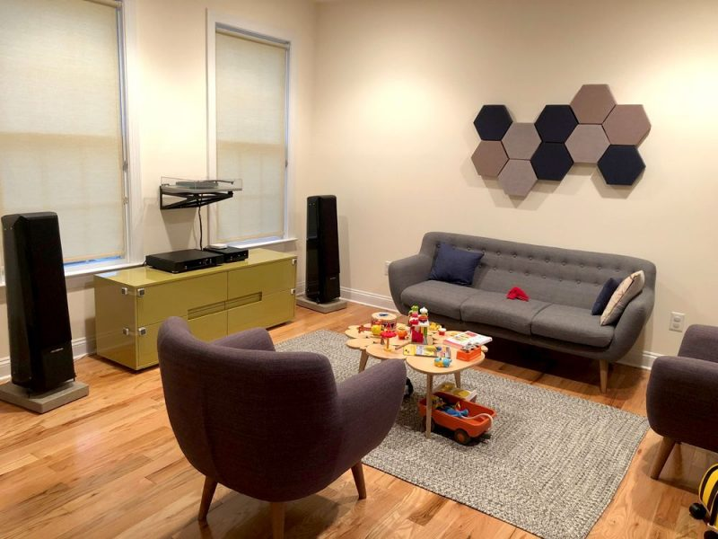 GIK Acoustics DecoShapes Decorative Hexagon Acoustic panels in mark pinsk living room
