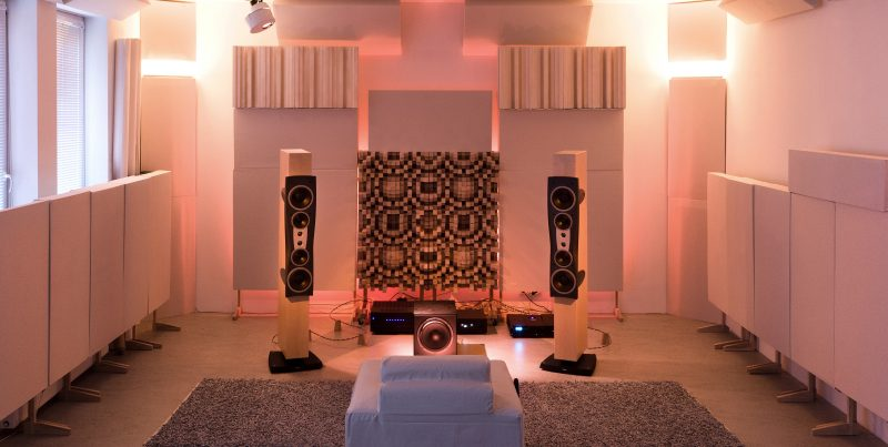 Zalan Schuster Showroom Listening Room with GIK Acoustics Gotham Diffusors and acoustic panels