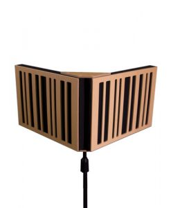 Vocal Isolation Booth VISO by GIK Acoustics on mic stand with microphone for recording