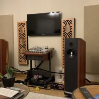Straight on shot of Acoustic Panels in hifi room dave denyer